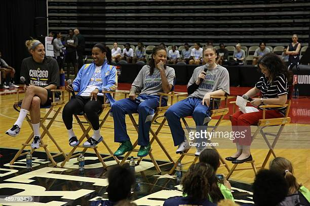 Elena Delle Donne and Tamera Young of the Chicago Sky sit with Seimone Augustus and Lindsay Whalen Minnesota Lynx to participate in a panel...
