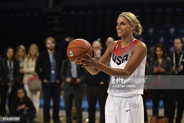 Elena Delle Donne demonstrates during the 2016 Team USA Media Summit at UCLA's Pauley Pavilion on March 8 2016 in Westwood California