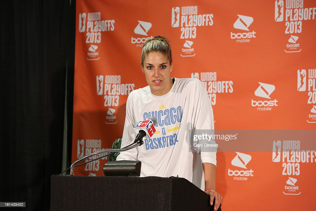 <a gi-track='captionPersonalityLinkClicked' href=/galleries/search?phrase=Elena+Delle+Donne&family=editorial&specificpeople=5042380 ng-click='$event.stopPropagation()'>Elena Delle Donne</a> #11 of the Chicago Sky addresses the media after being named the recipient of the 2013 WNBA Rookie of the Year award during a press conference on September 20, 2013 at the Allstate Arena in Rosemont, Illinois.