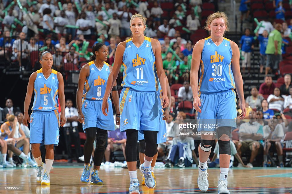 <a gi-track='captionPersonalityLinkClicked' href=/galleries/search?phrase=Elena+Delle+Donne&family=editorial&specificpeople=5042380 ng-click='$event.stopPropagation()'>Elena Delle Donne</a> #11 of the Chicago Sky against the New York Liberty during the game on July 18, 2013 at Prudential Center in Newark, New Jersey.