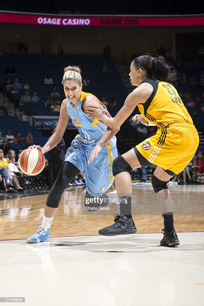 <a gi-track='captionPersonalityLinkClicked' href=/galleries/search?phrase=Elena+Delle+Donne&family=editorial&specificpeople=5042380 ng-click='$event.stopPropagation()'>Elena Delle Donne</a> #11 of the Chicago Sky brings the ball up court against the Tulsa Shock during the WNBA game on June 20, 2013 at the BOK Center in Tulsa, Oklahoma.