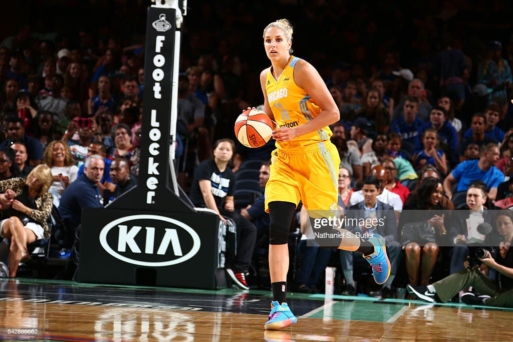 Elena Delle Donne #11 of the Chicago Sky brings the ball up court against the New York Liberty on June 24, 2016 at Madison Square Garden in New York, New York.