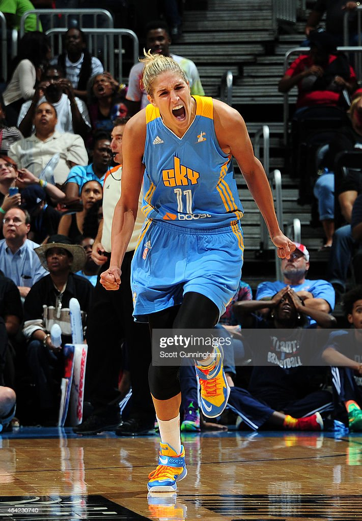 <a gi-track='captionPersonalityLinkClicked' href=/galleries/search?phrase=Elena+Delle+Donne&family=editorial&specificpeople=5042380 ng-click='$event.stopPropagation()'>Elena Delle Donne</a> #11 of the Chicago Sky celebrates after scoring against the Atlanta Dream in Game Three of the Eastern Conference Semifinals during the 2014 WNBA Playoffs on August 26, 2014 at Philips Arena in Atlanta, Georgia.