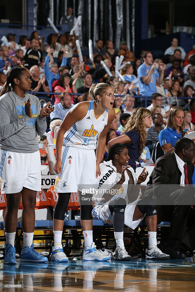 <a gi-track='captionPersonalityLinkClicked' href=/galleries/search?phrase=Elena+Delle+Donne&family=editorial&specificpeople=5042380 ng-click='$event.stopPropagation()'>Elena Delle Donne</a> #11 of the Chicago Sky cheers on her team from the bench during the game against the New York Liberty on July 31, 2014 at Allstate Arena in Rosemont, Illinois.