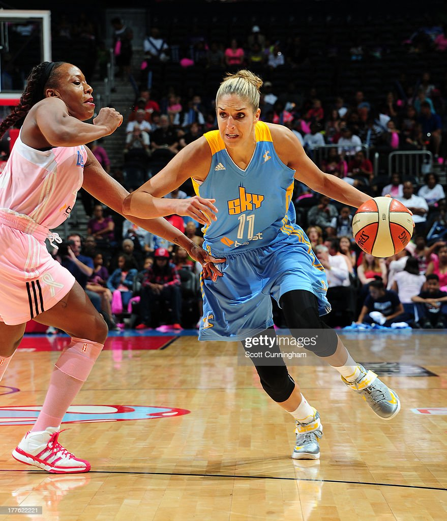Elena Delle Donne #11 of the Chicago Sky drives against the Atlanta Dream at Philips Arena on August 24 2013 in Atlanta, Georgia.