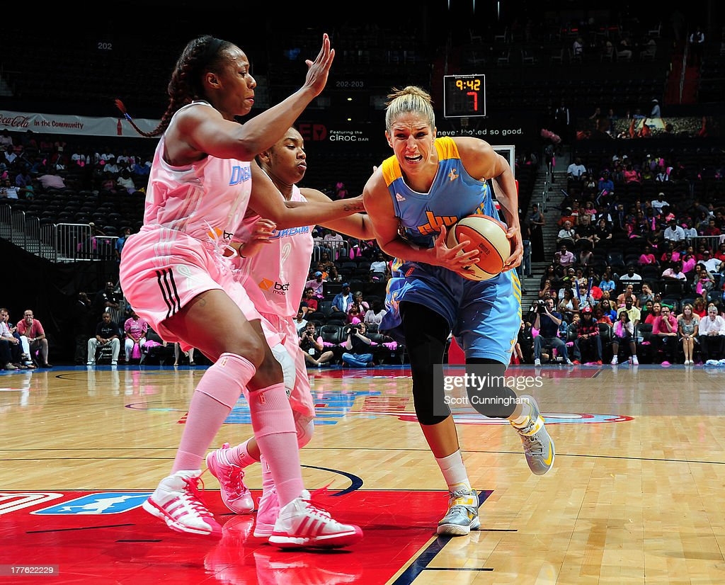 <a gi-track='captionPersonalityLinkClicked' href=/galleries/search?phrase=Elena+Delle+Donne&family=editorial&specificpeople=5042380 ng-click='$event.stopPropagation()'>Elena Delle Donne</a> #11 of the Chicago Sky drives against the Atlanta Dream at Philips Arena on August 24 2013 in Atlanta, Georgia.