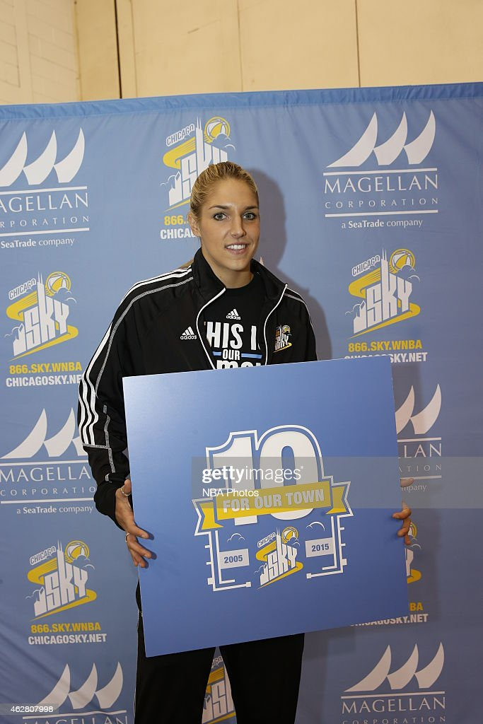 <a gi-track='captionPersonalityLinkClicked' href=/galleries/search?phrase=Elena+Delle+Donne&family=editorial&specificpeople=5042380 ng-click='$event.stopPropagation()'>Elena Delle Donne</a> #11 of the Chicago Sky during a press conference to announce 10th season plans and a Sport Expo with more then 150 girls from the Chicago-land communities as part of the 29th annual National Girls and Women in Sports Day at the Navy Pier in Chicago.