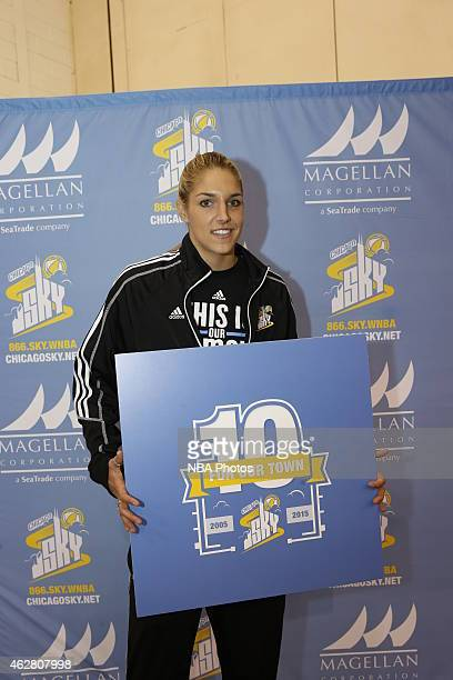 Elena Delle Donne of the Chicago Sky during a press conference to announce 10th season plans and a Sport Expo with more then 150 girls from the...