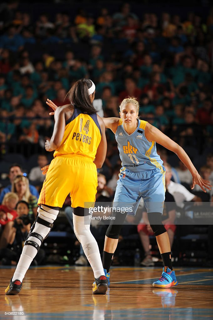 Elena Delle Donne #11 of the Chicago Sky fights for position against the Indiana Fever on June 29, 2016 at Allstate Arena in Rosemont, IL.