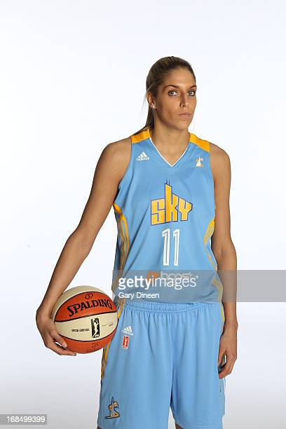 Elena Delle Donne of the Chicago Sky gets her portrait taken during the 2013 Chicago Sky Media Day on May 09 2013 at the Sachs Recreation Center in...