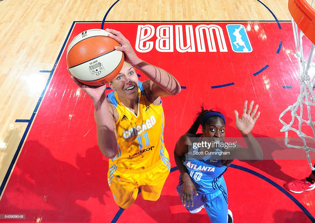 Elena Delle Donne of the Chicago Sky goes to the basket against Matee Ajavon of the Atlanta Dream on June 17 2016 at Philips Arena in Atlanta Georgia...