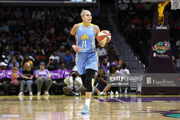 Elena Delle Donne of the Chicago Sky handles the ball against the Los Angeles Sparks in a WNBA game at Staples Center on August 16 2015 in Los...