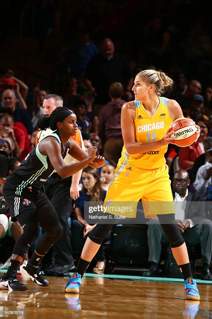 <a gi-track='captionPersonalityLinkClicked' href=/galleries/search?phrase=Elena+Delle+Donne&family=editorial&specificpeople=5042380 ng-click='$event.stopPropagation()'>Elena Delle Donne</a> #11 of the Chicago Sky handles the ball against the New York Liberty on June 24, 2016 at Madison Square Garden in New York, New York.