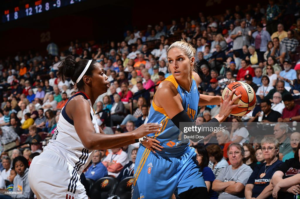 <a gi-track='captionPersonalityLinkClicked' href=/galleries/search?phrase=Elena+Delle+Donne&family=editorial&specificpeople=5042380 ng-click='$event.stopPropagation()'>Elena Delle Donne</a> #11 of the Chicago Sky handles the ball against the Connecticut Sun on September 13, 2015 at the Mohegan Sun Arena in Uncasville, Connecticut.