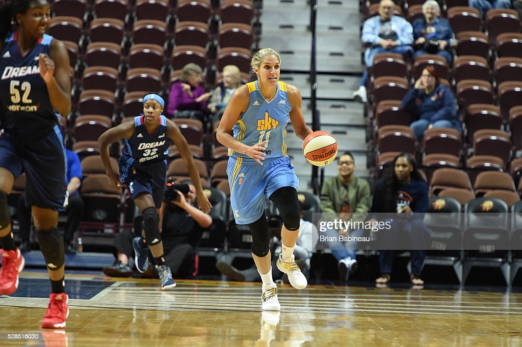 Elena Delle Donne #11 of the Chicago Sky handles the ball against the Atlanta Dream in a WNBA preseason game on May 5, 2016 at the Mohegan Sun Arena in Uncasville, Connecticut.
