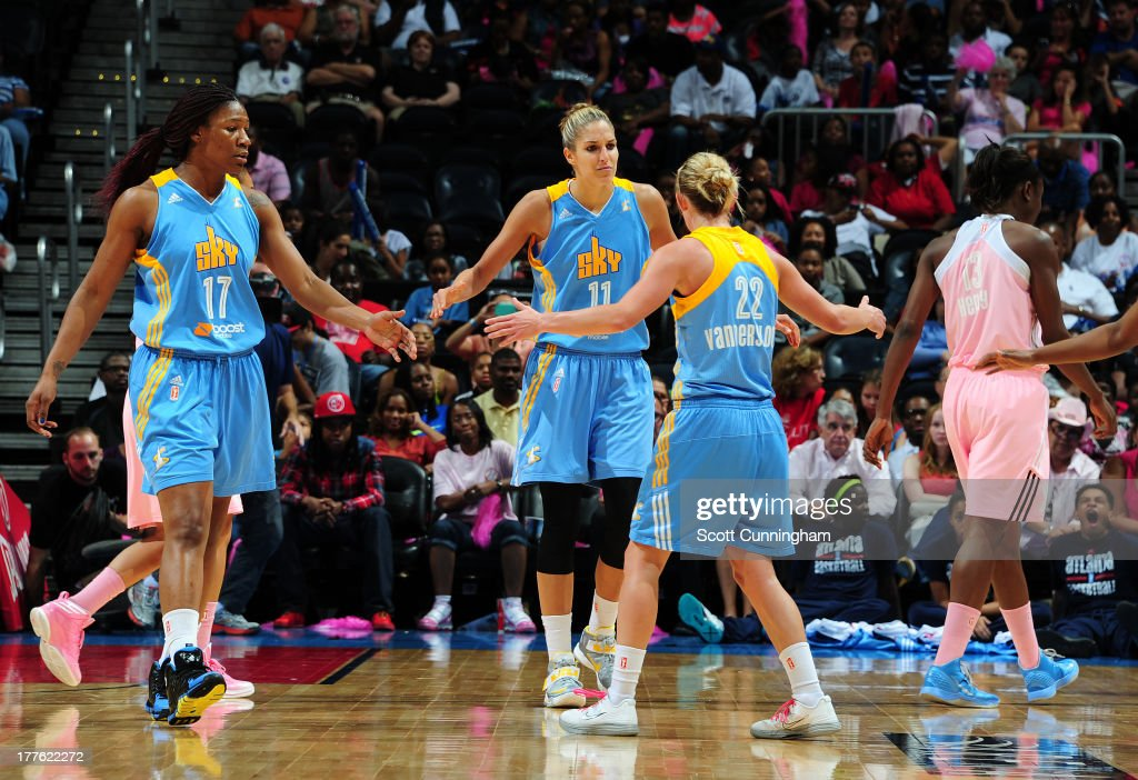 <a gi-track='captionPersonalityLinkClicked' href=/galleries/search?phrase=Elena+Delle+Donne&family=editorial&specificpeople=5042380 ng-click='$event.stopPropagation()'>Elena Delle Donne</a> #11 of the Chicago Sky is congratulated by teammates after scoring against the Atlanta Dream at Philips Arena on August 24 2013 in Atlanta, Georgia.