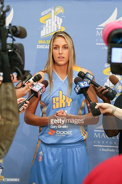 Elena Delle Donne of the Chicago Sky is interviewed during the 2015 Chicago Sky Media Day on May 18 2015 at the Sachs Recreation Center in Deerfield...