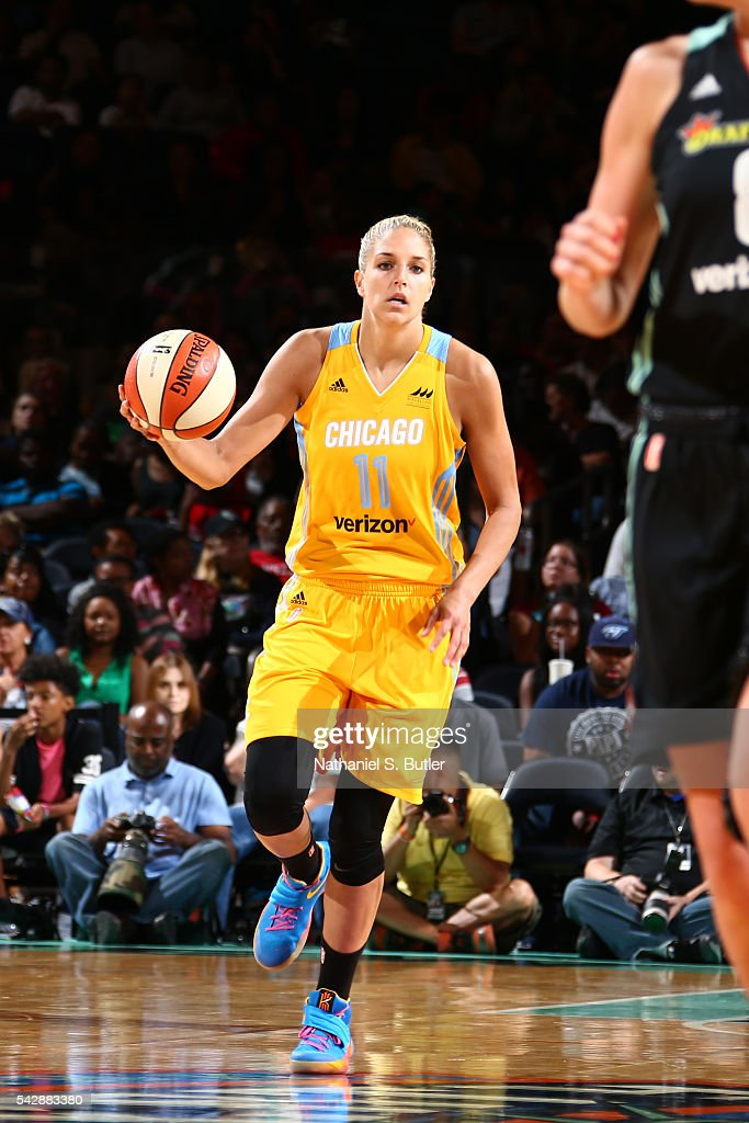 Elena Delle Donne #11 of the Chicago Sky moves the ball against the New York Liberty on June 24, 2016 at Madison Square Garden in New York, New York.
