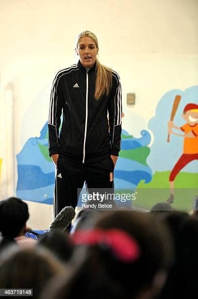 Elena Delle Donne of the Chicago Sky participates in NBA Cares/FIT Day of Service at Mott Hall II during the 2015 NBA AllStar on February 13 2015 in...