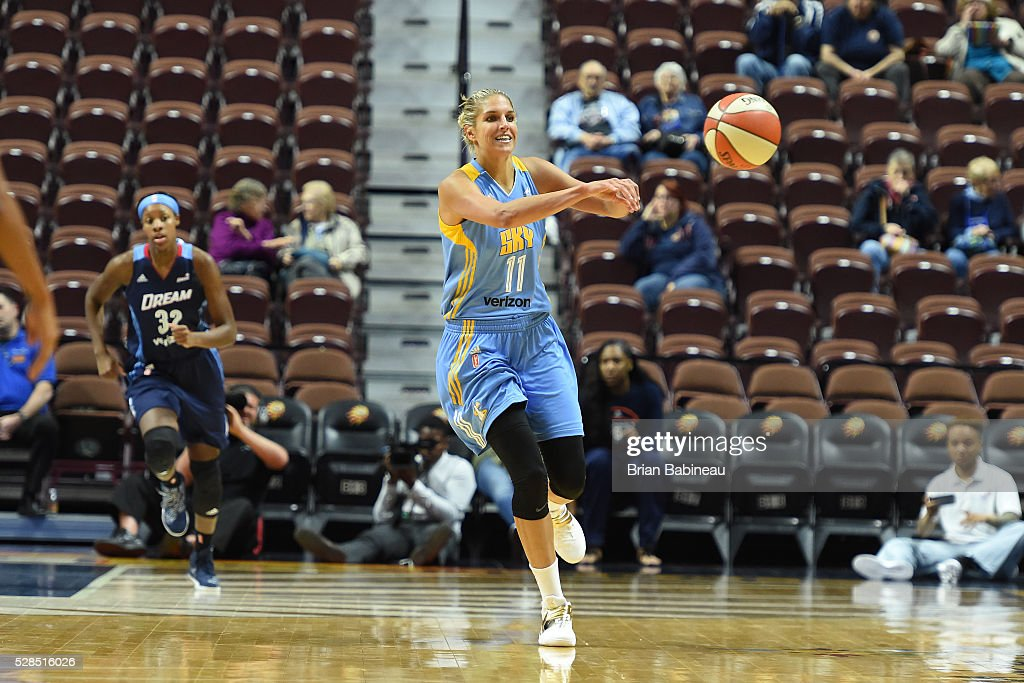 Elena Delle Donne #11 of the Chicago Sky passes the ball against the Atlanta Dream in a WNBA preseason game on May 5, 2016 at the Mohegan Sun Arena in Uncasville, Connecticut.