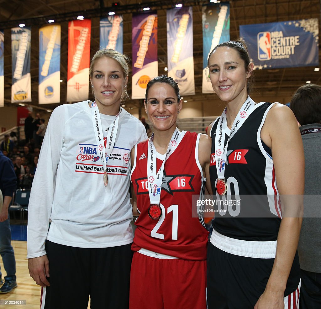 Elena Delle Donne of the Chicago Sky poses with WNBA Legends Ticha Penichiero and Ruth Riley during the NBA Cares Special Olympics Unified Game as part of 2016 All-Star Weekend at the Enercare Centre on February 13, 2016 in Toronto, Ontario, Canada.