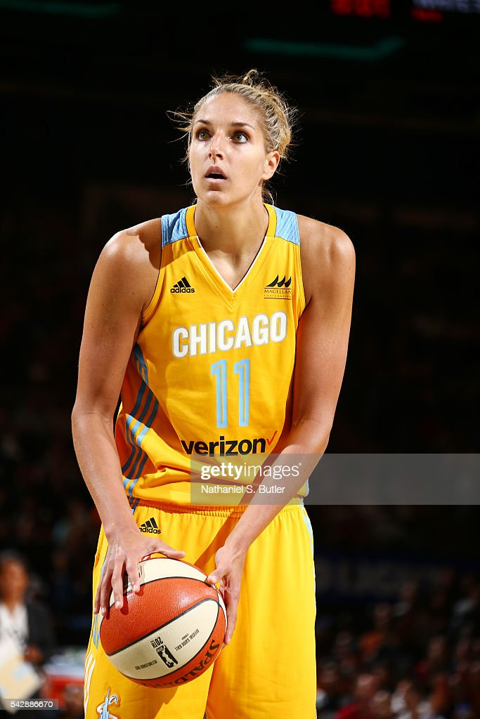 Elena Delle Donne #11 of the Chicago Sky prepares to shoot a free throw against the New York Liberty on June 24, 2016 at Madison Square Garden in New York, New York.