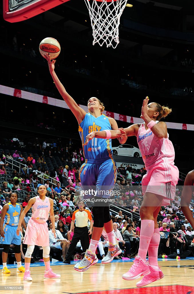 <a gi-track='captionPersonalityLinkClicked' href=/galleries/search?phrase=Elena+Delle+Donne&family=editorial&specificpeople=5042380 ng-click='$event.stopPropagation()'>Elena Delle Donne</a> #11 of the Chicago Sky puts up a shot against the Atlanta Dream at Philips Arena on August 24 2013 in Atlanta, Georgia.