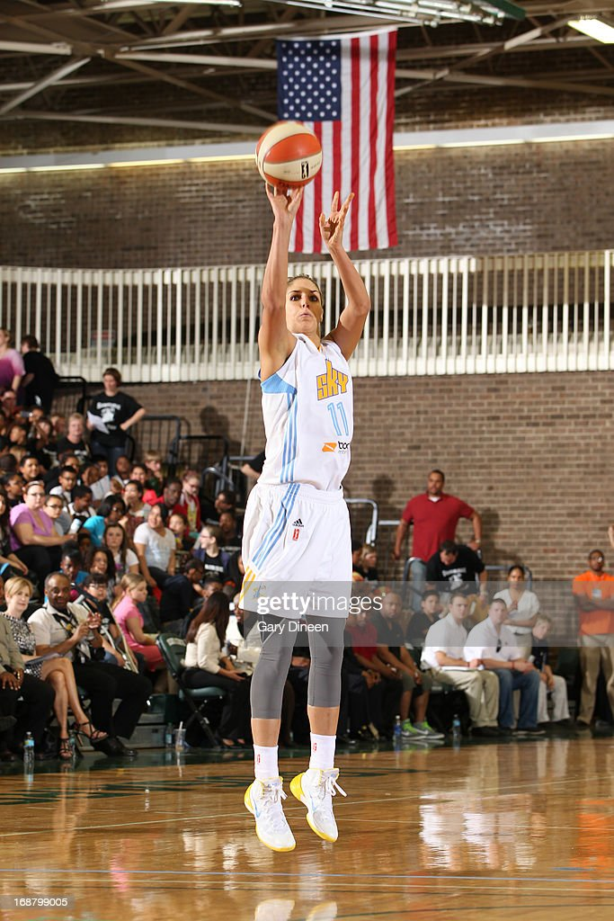 <a gi-track='captionPersonalityLinkClicked' href=/galleries/search?phrase=Elena+Delle+Donne&family=editorial&specificpeople=5042380 ng-click='$event.stopPropagation()'>Elena Delle Donne</a> #11 of the Chicago Sky puts up a shot during the pre-season game against the New York Liberty on May 15, 2013 at the Jacoby D. Dickens Physical Education and Athletic Center on the campus of Chicago State University in Chicago, Illinois.