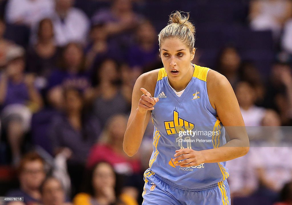 <a gi-track='captionPersonalityLinkClicked' href=/galleries/search?phrase=Elena+Delle+Donne&family=editorial&specificpeople=5042380 ng-click='$event.stopPropagation()'>Elena Delle Donne</a> #11 of the Chicago Sky reacts after scoring against the Phoenix Mercury during the first half of game two of the WNBA Finals at US Airways Center on September 9, 2014 in Phoenix, Arizona.