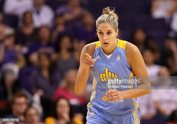 Elena Delle Donne of the Chicago Sky reacts after scoring against the Phoenix Mercury during the first half of game two of the WNBA Finals at US...