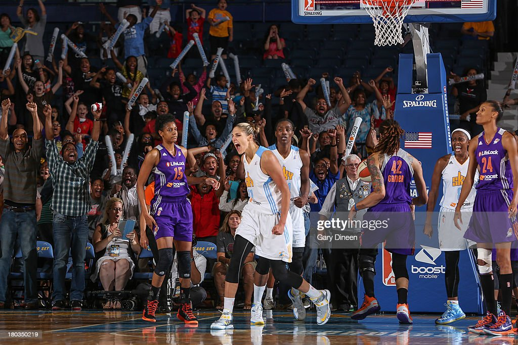 <a gi-track='captionPersonalityLinkClicked' href=/galleries/search?phrase=Elena+Delle+Donne&family=editorial&specificpeople=5042380 ng-click='$event.stopPropagation()'>Elena Delle Donne</a> #11 of the Chicago Sky reacts after scoring the winning basket of the game against the Phoenix Mercury to give the Sky a 70-68 win on September 11, 2013 at the Allstate Arena in Rosemont, Illinois.