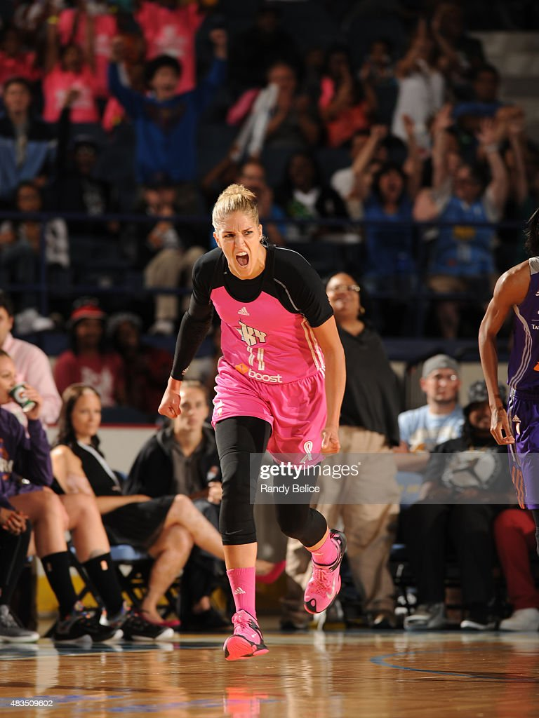 <a gi-track='captionPersonalityLinkClicked' href=/galleries/search?phrase=Elena+Delle+Donne&family=editorial&specificpeople=5042380 ng-click='$event.stopPropagation()'>Elena Delle Donne</a> #11 of the Chicago Sky reacts to a play against the Phoenix Mercury on August 9, 2015 at the Allstate Arena in Rosemont, Illinois.