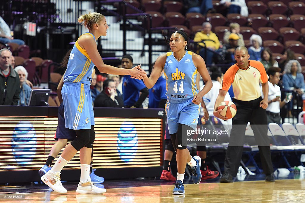 Elena Delle Donne #11 of the Chicago Sky shakes hands with Betnijah Laney #44 of the Chicago Sky during the game against the Atlanta Dream in a WNBA preseason game on May 5, 2016 at the Mohegan Sun Arena in Uncasville, Connecticut.