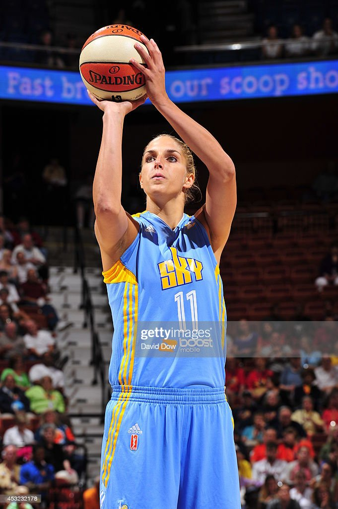 <a gi-track='captionPersonalityLinkClicked' href=/galleries/search?phrase=Elena+Delle+Donne&family=editorial&specificpeople=5042380 ng-click='$event.stopPropagation()'>Elena Delle Donne</a> #11 of the Chicago Sky shoots a free throw against the Connecticut Sun on August 5, 2014 at the Mohegan Sun Arena in Uncasville, Connecticut.