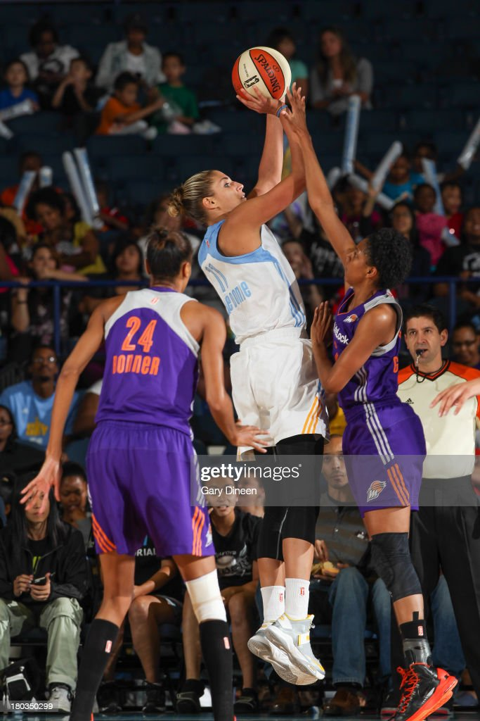 Elena Delle Donne #11 of the Chicago Sky shoots against Briana Gilbreath #15 of the Phoenix Mercury during the game on September 11, 2013 at the Allstate Arena in Rosemont, Illinois.