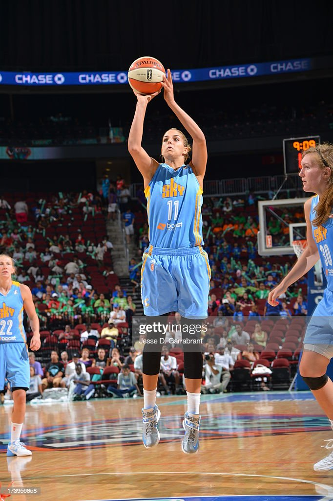 <a gi-track='captionPersonalityLinkClicked' href=/galleries/search?phrase=Elena+Delle+Donne&family=editorial&specificpeople=5042380 ng-click='$event.stopPropagation()'>Elena Delle Donne</a> #11 of the Chicago Sky shoots against the New York Liberty during the game on July 18, 2013 at Prudential Center in Newark, New Jersey.