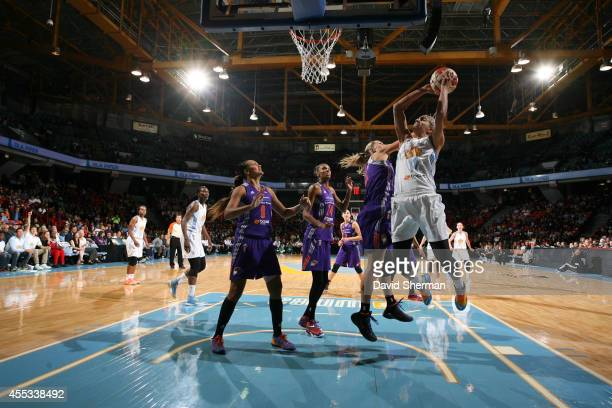 Elena Delle Donne of the Chicago Sky shoots against the Phoenix Mercury in Game Three of the 2014 WNBA Finals on September 12 2014 at the UIC...