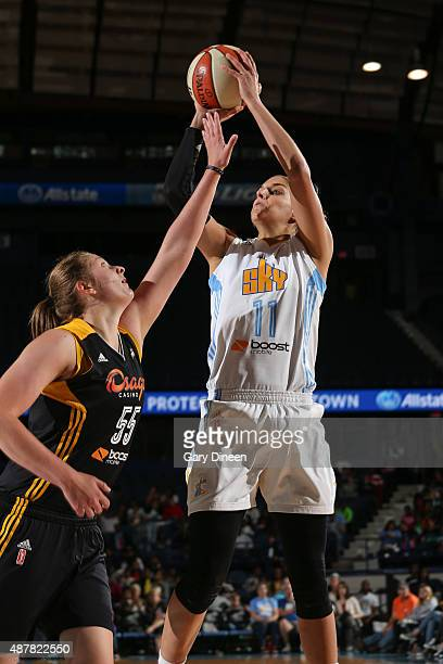 Elena Delle Donne of the Chicago Sky shoots against Theresa Plaisance of the Tulsa Shock on September 11 2015 at the Allstate Arena in Rosemont...