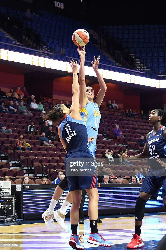 Elena Delle Donne #11 of the Chicago Sky shoots the ball against the Atlanta Dream in a WNBA preseason game on May 5, 2016 at the Mohegan Sun Arena in Uncasville, Connecticut.