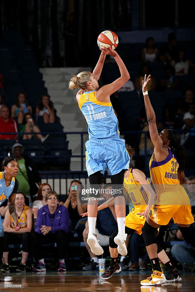 <a gi-track='captionPersonalityLinkClicked' href=/galleries/search?phrase=Elena+Delle+Donne&family=editorial&specificpeople=5042380 ng-click='$event.stopPropagation()'>Elena Delle Donne</a> #11 of the Chicago Sky shoots the ball during the game against <a gi-track='captionPersonalityLinkClicked' href=/galleries/search?phrase=Nneka+Ogwumike&family=editorial&specificpeople=7950576 ng-click='$event.stopPropagation()'>Nneka Ogwumike</a> #30 of the Los Angeles Sparks on May 24, 2016 at the Allstate Arena in Chicago, Illinois.