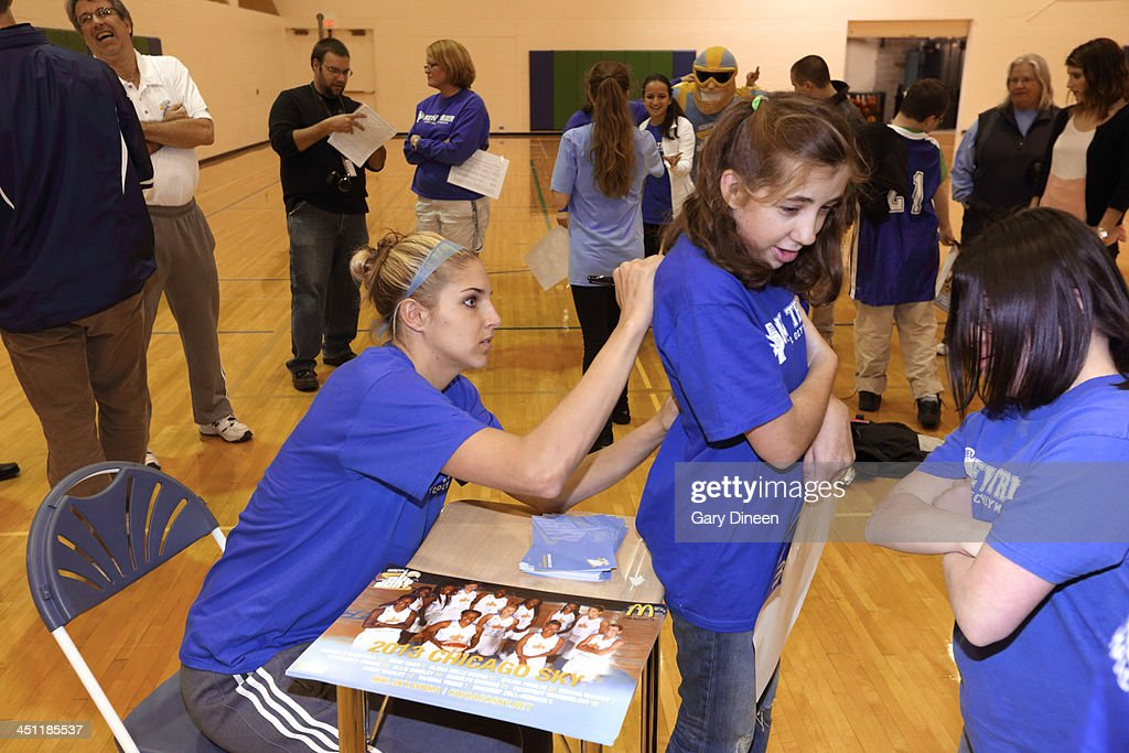 <a gi-track='captionPersonalityLinkClicked' href=/galleries/search?phrase=Elena+Delle+Donne&family=editorial&specificpeople=5042380 ng-click='$event.stopPropagation()'>Elena Delle Donne</a> of the Chicago Sky visits with Special Olympics athletes during a basketball skills clinic on November 12, 2013 at New Trier Township High School in Winnetka, Illinois.