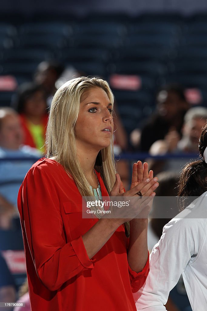 <a gi-track='captionPersonalityLinkClicked' href=/galleries/search?phrase=Elena+Delle+Donne&family=editorial&specificpeople=5042380 ng-click='$event.stopPropagation()'>Elena Delle Donne</a> #11 of the Chicago Sky watches the action from the sidelines during the game against the Connecticut Sun on August 18, 2013 at the Allstate Arena in Rosemont, Illinois. Delle Donne was sidelined with an ankle injury she sustained on August 13th.