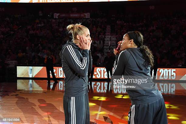 Elena Delle Donne of the Eastern Conference AllStars and Maya Moore of the Western Conference AllStars joke around during the Boost Mobile WNBA...