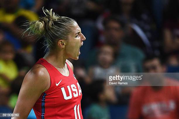 Elena Delle Donne of the United States reacts during a Women's Semifinal Basketball game between the United States and France at the Carioca Arena on...