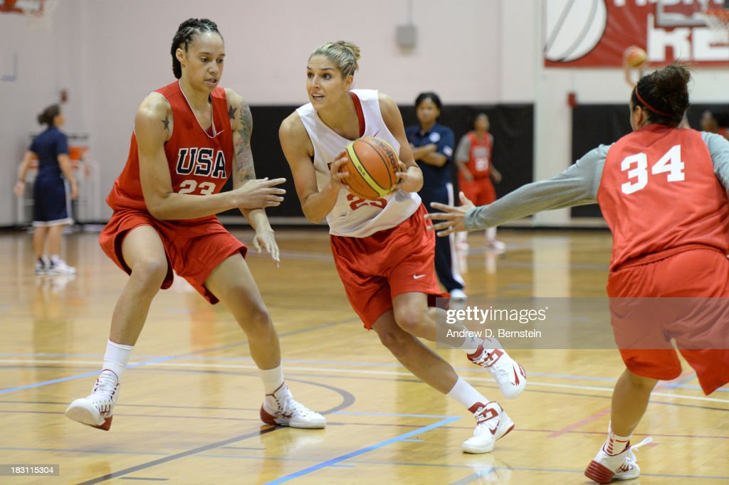 Elena Delle Donne #25 of the USA Women's National Team drives against Britney Griner #23 of the USA Women's National Team during the USA Womens National Team Mini-Camp on October 4, 2013 at the Cox Pavilion in Las Vegas, Nevada.