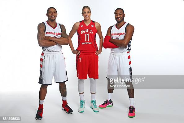 Elena Delle Donne of the Washington Mysitcs poses with Bradley Beal and John Wall of the Washington Wizards on February 10 2017 at Verizon Center in...