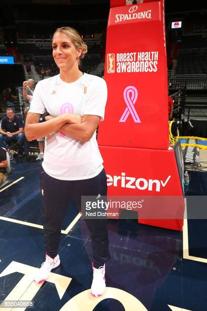 Elena Delle Donne of the Washington Mystics before the game against the Los Angeles Sparks on August 16 2017 at the Verizon Center in Washington DC...