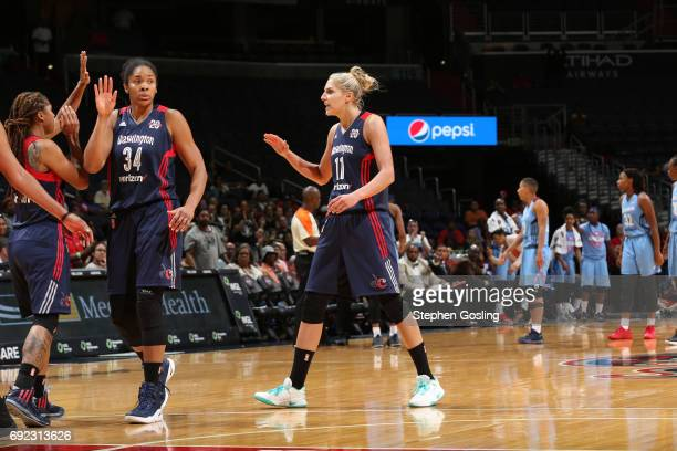 Elena Delle Donne of the Washington Mystics celebrates with teammates during the game against the Atlanta Dream on June 4 2017 at Verizon Center in...