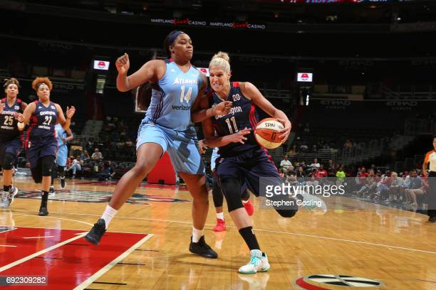 Elena Delle Donne of the Washington Mystics drives to the basket against Rachel Hollivay of the Atlanta Dream on June 4 2017 at Verizon Center in...