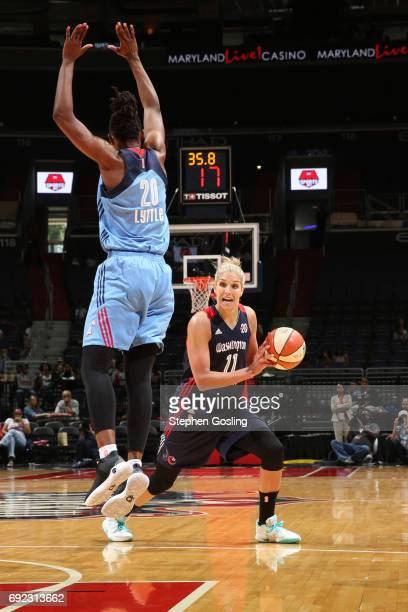 Elena Delle Donne of the Washington Mystics drives to the basket against the Atlanta Dream on June 4 2017 at Verizon Center in Washington DC NOTE TO...